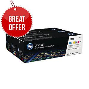 HP 131A 3-pack Cyan/Magenta/Yellow Original LaserJet Toner Cartridges (U0SL1AM)