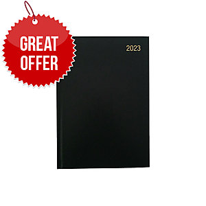 LYRECO A4 DESK DIARY BLACK - WEEK TO VIEW
