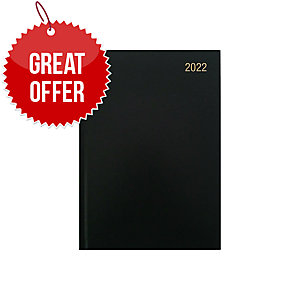 LYRECO A5 DESK DIARY BLACK - WEEK TO VIEW