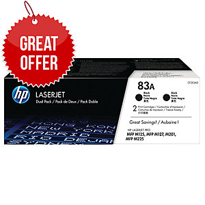 HP 83A 2-pack Black Original LaserJet Toner Cartridges (CF283AD)