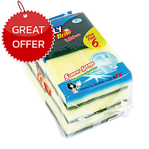 POLY-BRITE SCOURING PAD WITH SPONGE 3X4   - PACK OF 6
