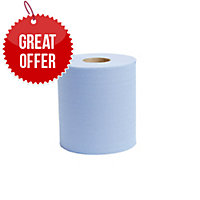 LYRECO BLUE 1 PLY 190MMX300M CENTREFEED ROLL 1 PLY - PACK OF 6