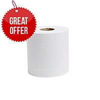 LYRECO WHITE 2 PLY 190MMX150M CENTREFEED ROLL - PACK OF 6