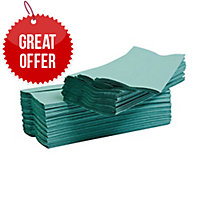 LYRECO GREEN 1 PLY C-FOLD HAND TOWELS - PACK OF 2880