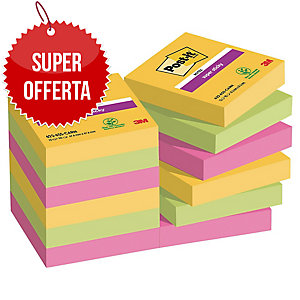 FOGLIETTI POST-IT® ADESIVO SUPER STICKY 47,6 X 47,6MM RIO -12 BLOCCHETTI