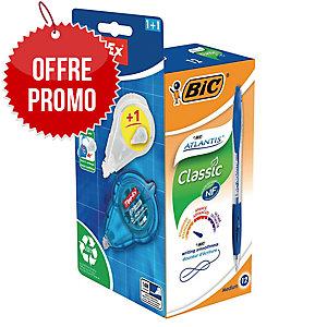 Stylo Bic atlantis + surligneur Bic Grip - bleu - coloris assortis - pack 12 + 4