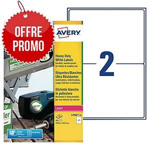 Etiquette ultra-résistante Avery L7068-20 - 199,6 x 143,5 mm - blanche - par 40