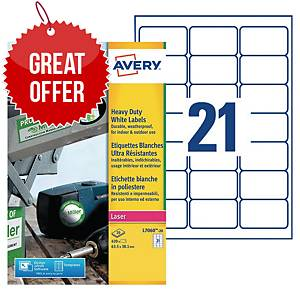 Avery L7060-20 Resistant Labels, 63.5 x 38.1 mm, 21 Labels Per Sheet
