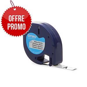 Ruban Dymo Letratag - plastique - 12 mm - noir sur blanc