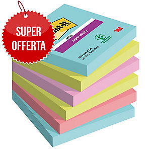 FOGLIETTI POST-IT® ADESIVO SUPER STICKY 76 X 76 MM MIAMI - 6 BLOCCHETTI
