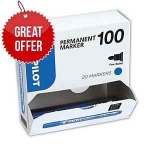 Pilot SCA 100 Blue Permanent Marker Bullet Tip - Value Box of 20