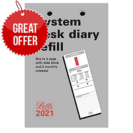 Letts System Desk Calendar 130 X 90mm Refill Page A Day