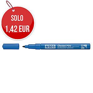 Marcatore indelebile Pentel N50S in metallo punta tonda tratto 1 mm blu
