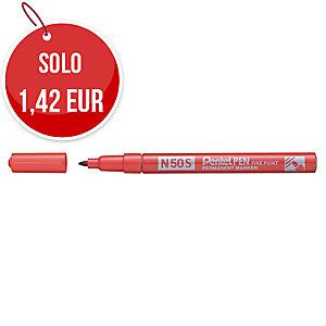 Marcatore indelebile Pentel N50S in metallo punta tonda tratto 1 mm rosso