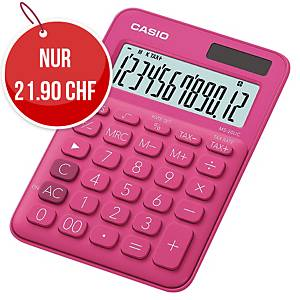 Tischrechner Casio MS-20UC, 12-stellige Anzeige, pink