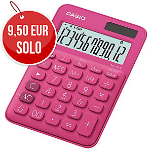 CALCULADORA DE SOBREMESA CASIO MS20UC DE 12 DÍGITOS DE COLOR ROSA