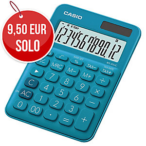 CALCULADORA DE SOBREMESA CASIO MS20UC DE 12 DÍGITOS DE COLOR AZUL
