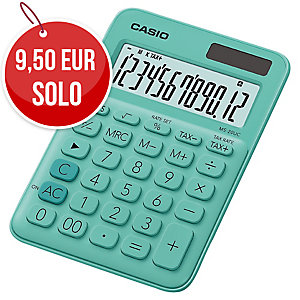 CALCULADORA DE SOBREMESA CASIO MS20UC DE 12 DÍGITOS DE COLOR VERDE