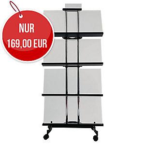 ALBA MOBILE mobiler Prospektständer, 4 Regale, groß 72,8 x 165,4 x 32,4