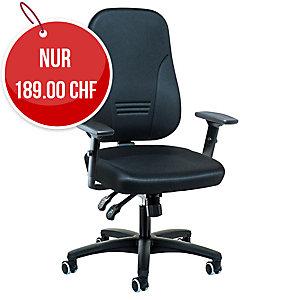 Bürostuhl Prosedia Younico 1452, mittelhohe Rückenlehne, schwarz