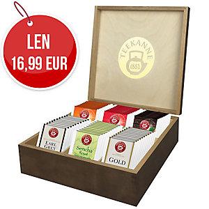 Ozdobná drevená kazeta na čaj, 60 ks čajových vrecúšok ( 6 druhov )
