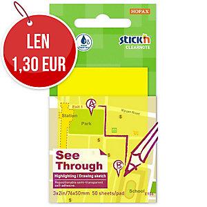 Samolepiace priehľadné bloček Clearnote STICK N by Hopax, 76 X 51 mm, žlté