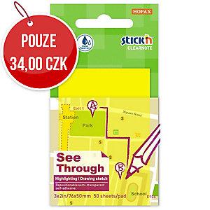 Samolepicí průhledný bloček Clearnote STICK N by Hopax, 76 X 51 mm, žluté