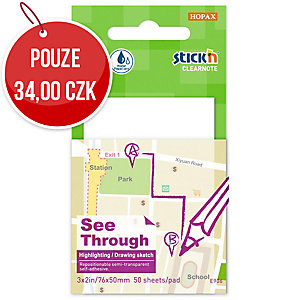 Samolepicí průhledný bloček Clearnote STICK N by Hopax, 76 X 51 mm, bílé