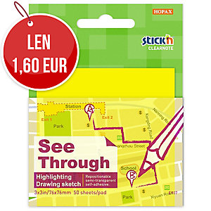 Samolepiace priehľadné bloček Clearnote STICK N by Hopax, 76 X 76 mm, žlté