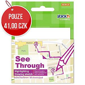 Samolepicí průhledný bloček Clearnote STICK N by Hopax, 76 X 76 mm, bílé
