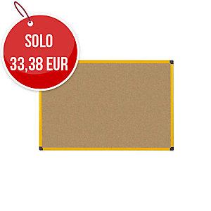 Pannello in sughero Ultrabrite Bi-ffice con cornice gialla 90 x 60cm