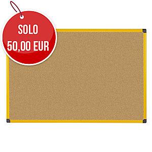Pannello in sughero Ultrabrite Bi-ffice con cornice gialla 120 x 90cm
