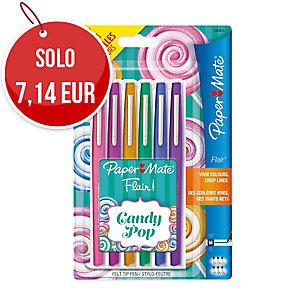 Pennarelli PaperMate Nylon Flair punta media colori candy pop - conf. 6