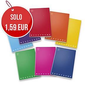 Quaderno Pigna Monocromo Maxi PPL quadretti 5 mm 80 fogli colori fluo