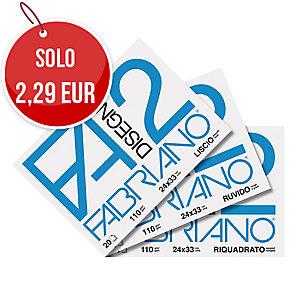 ALBUM DISEGNO F2 FABRIANO SUPERFICIE LISCIA RIQUADRATA 20 FOGLI 110G/MQ 24X33 CM