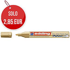 Marcatore indelebile Edding 750 fusto metallo punta tonda 2-4 mm oro