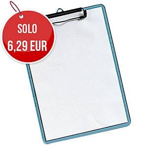 Portablocco con clip plastica 23 x 31,5 cm blu