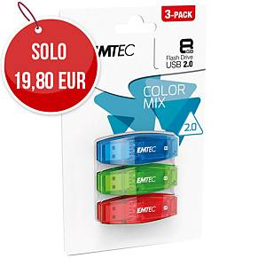 Memoria USB Emtec Color Mix C410 8 GB - conf. 3
