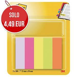 Segnapagina in carta Post-it® note markers 15 x 50mm - 5 blocchetti da 100pz