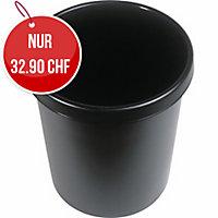 Papierkorb Helit, 30 l, Kunststoff, schwarz