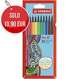 Pennarello punta media Stabilo Pen 68 colori assortiti - conf. 10
