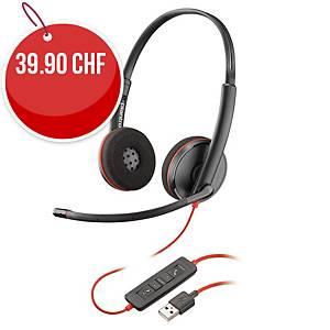 Casque Plantronics Blackwire 3220, Dou/Stereo, USB, noir