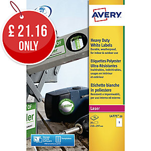 Avery L4775-20 Resistant Labels, 210 x 297 mm, 1 Labels Per Sheet