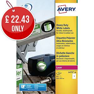 Avery L4775-20 Resistant Labels, 210 x 297 mm, 1 Labels Per Sheet