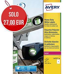 Etichette in poliestere Avery L4775 210 x 297 mm bianco - conf. 20