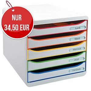 Durable V aricolor Schubladenbox 5-Schubladen, weiß/farbig