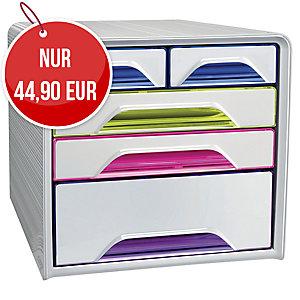 Cep Classic Schubladenbox 5-farbig, Größe 36 x 28,8 x 27 cm, weiß-farbig