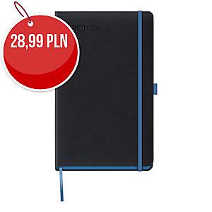 Kalendarz LEDIBERG BLACKCOLOR A5, dzienny, czarny z niebieskim rantem