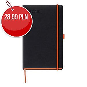 Kalendarz LEDIBERG BLACKCOLOR A5, dzienny, czarny z pomarańczowym rantem