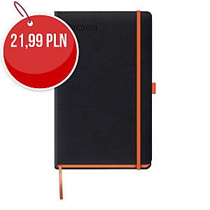 Kalendarz LEDIBERG BLACKCOLOR A5, tygodniowy, czarny z pomarańczowym rantem